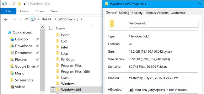 Windows.old folder size in File Explorer