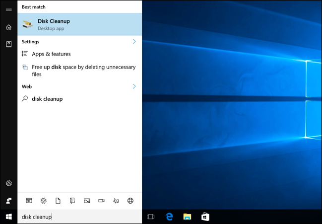 Launching Disk Cleanup on Windows 10