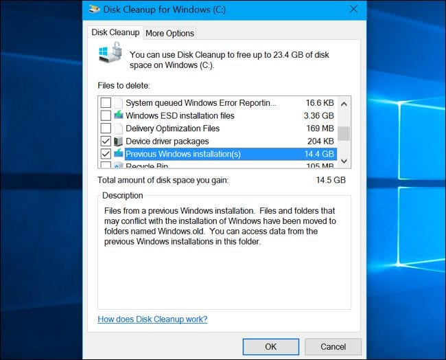 Previous Windows installation(s) option in Disk Cleanup
