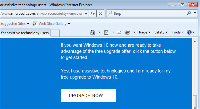 upgrade to windows 10 free assistive technology