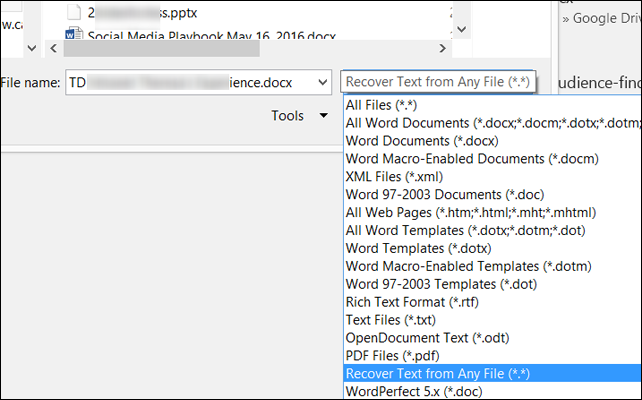 word recover text from any file