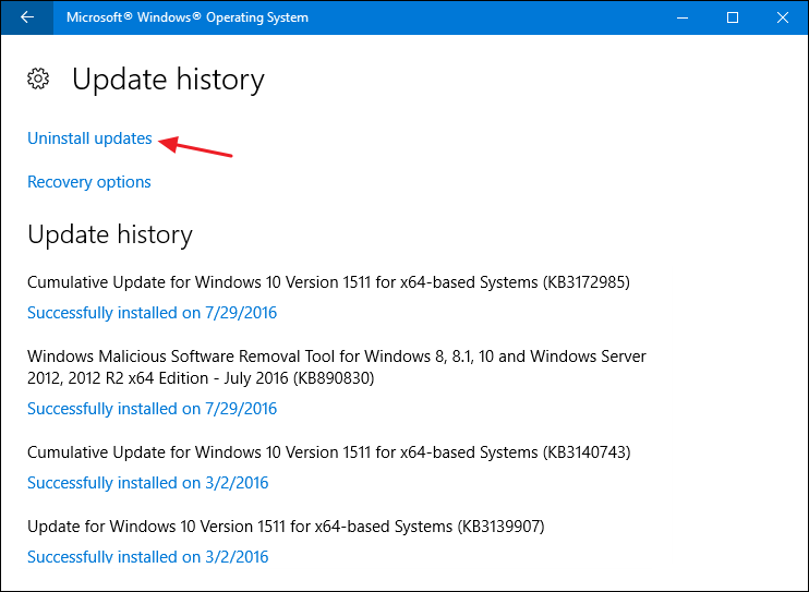 windows 10 version 1511 end of life