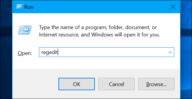 "Press Windows+R to open ""Run"" and type ""regedit"" in and hit the Enter key."