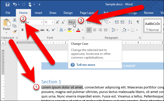 letter to word converter how to easily change the on text in microsoft word 23277 | 01 clicking change case button
