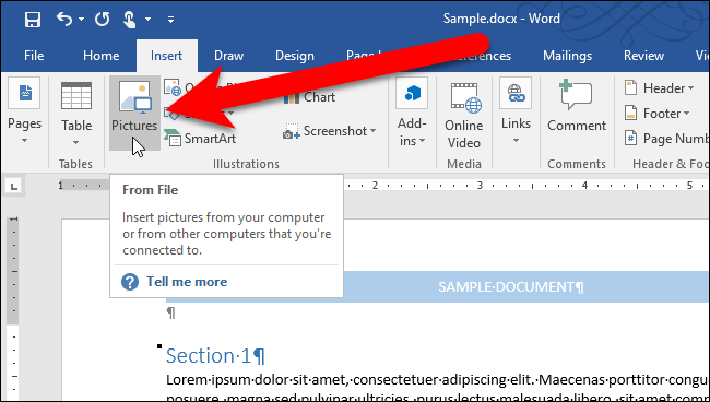 how to change the page location on microsoft word