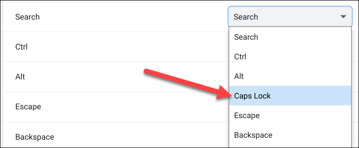 """Choose the """"Caps Lock"""" option under """"Search"""""""