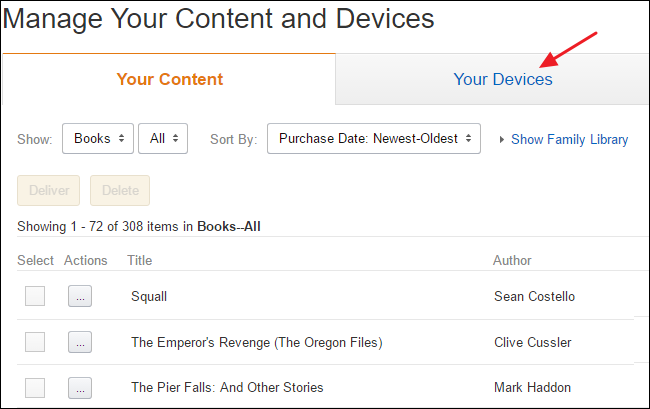 how to delete books from kindle device