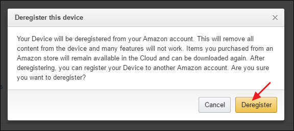How to disconnect kindle from amazon account
