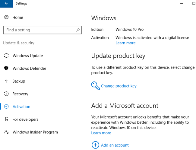 backup office activation windows 10
