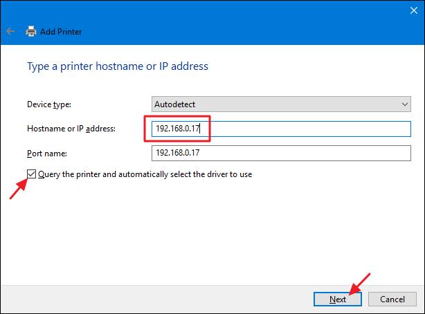 install printer based on ip address