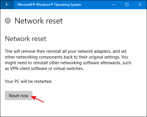 how to reset network and sharing center windows 10
