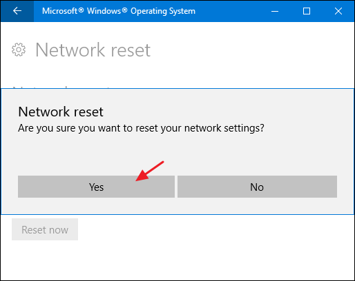 full network reset windows 10