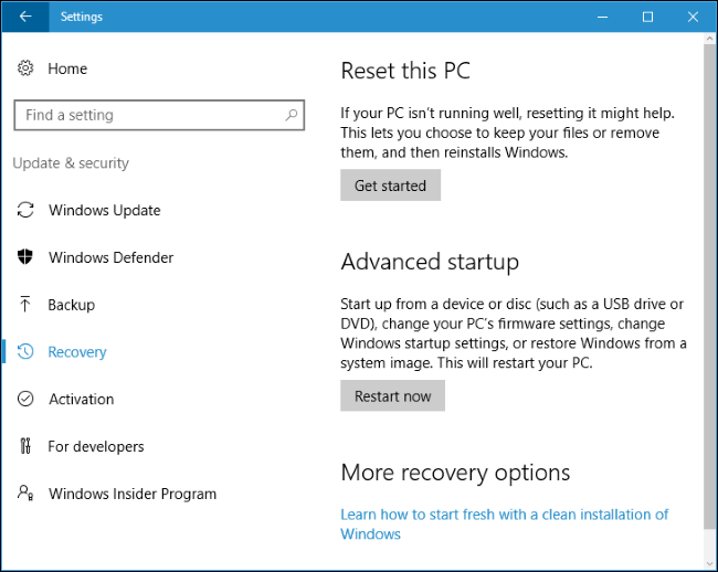 restore my computer to factory settings