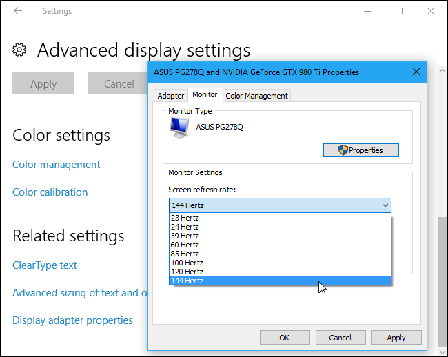 how to make your 120hz or 144hz monitor use its advertised refresh rate