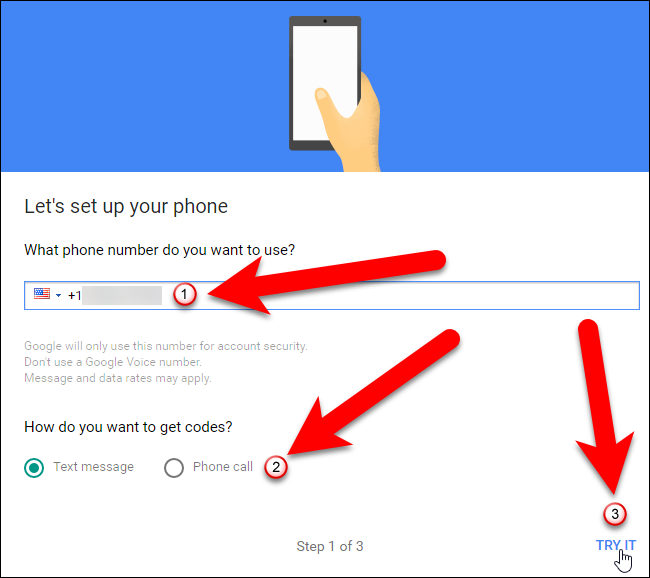 how to change phone call to text google verficitation