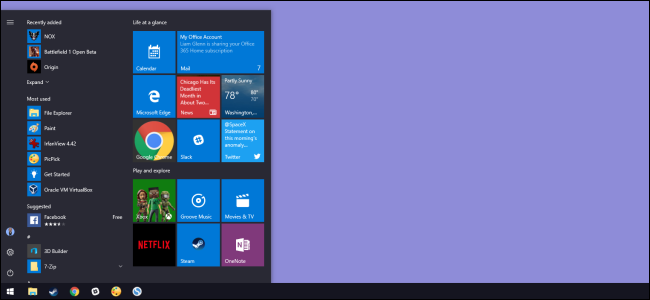 windows desktop with open start menu