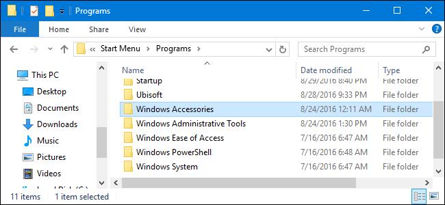Start menu\programs folder in File Explorer