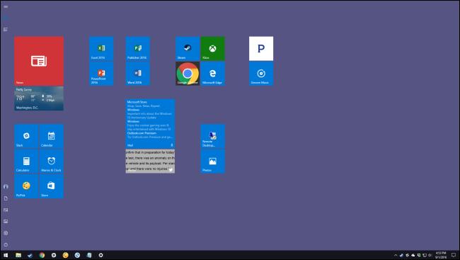 desktop showing full start screen