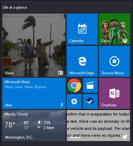 start menu showing relative tile sizes