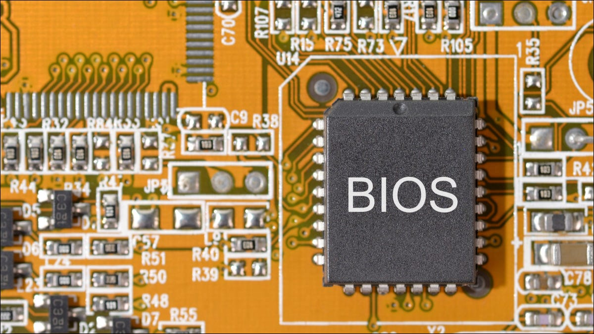 BIOS chip on a computer motherboard