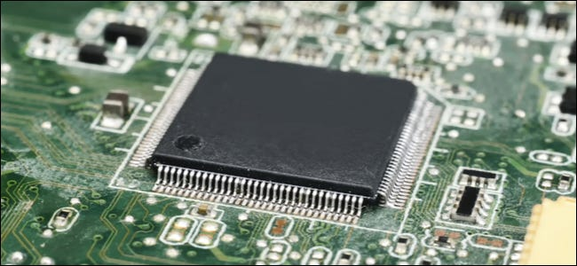 A computer chip on a motherboard