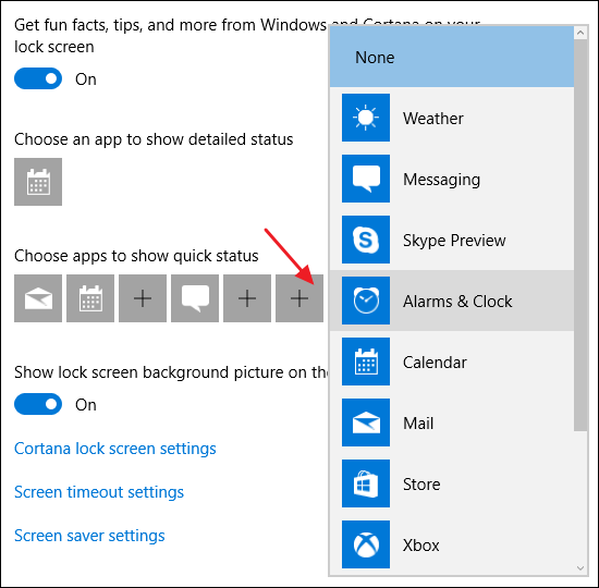 choosing apps that appear on the lock screen
