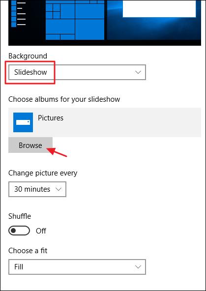 slideshow settings for desktop background