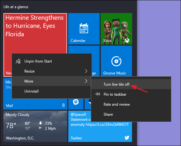 turn live tile off option on start menu