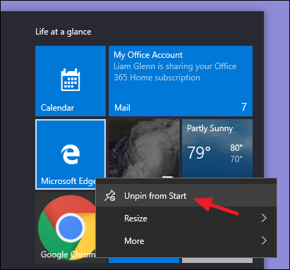 unpin from start option on start menu