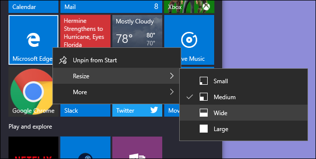 resizing tile on start menu