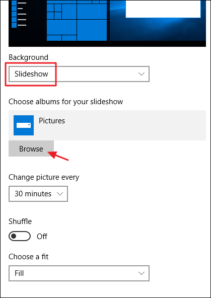 slideshow settings for desktop background