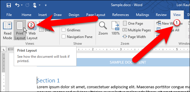 how to show and hide the rulers in microsoft word