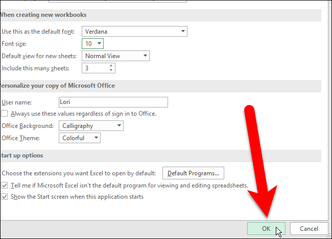 How to Set the Default Font and Font Size for New Workbooks