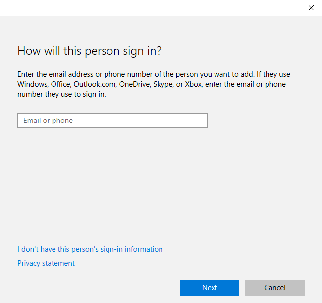 the first screen will ask you for the email address or phone number associated with the other persons microsoft account