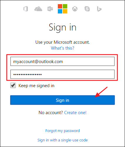 login to my microsoft account