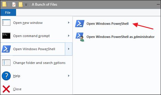 Click File > Open Windows PowerShell > Open Windows PowerShell.