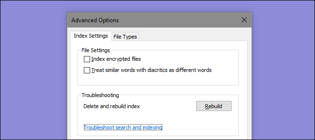 force search indexing windows 10