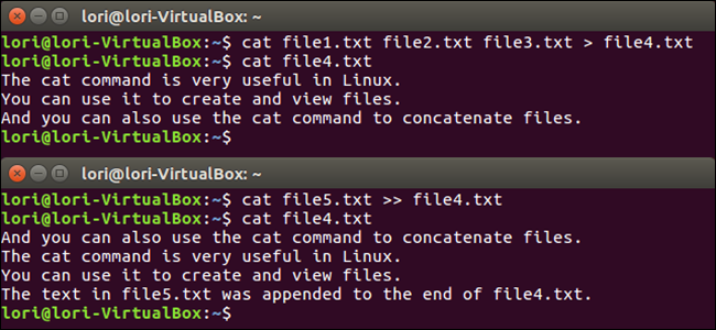 linux create new file with cat