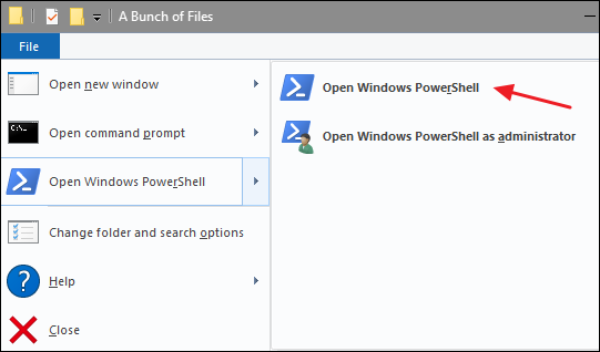 Haga clic en Archivo> Abrir Windows PowerShell> Abrir Windows PowerShell.