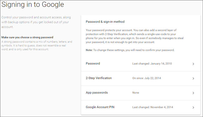 how to change password to google account