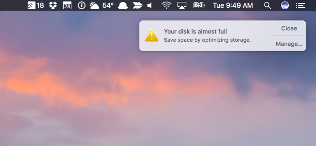 clearing disk space on mac air
