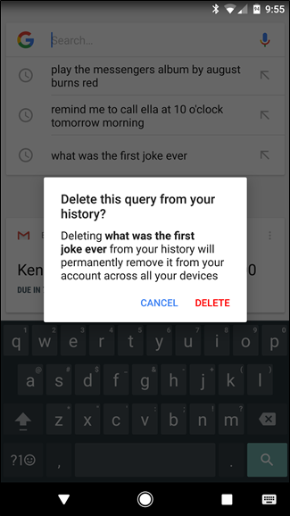 Delete history on google android