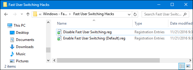 disable fast user switching windows 10 registry