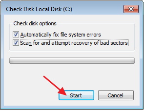 how to cancel disk check windows 7