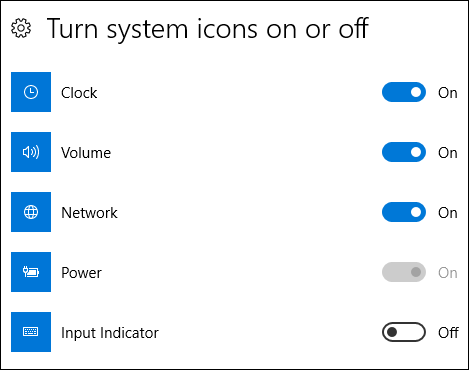 turning system icons on or off in settings