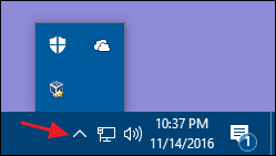 expand the hidden pane for notification area icons