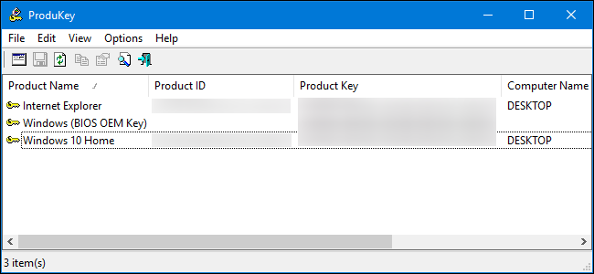 windows 10 home view product key