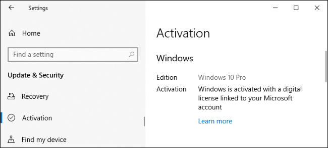 Windows 10 activated with a digital license linked to a Microsoft account.