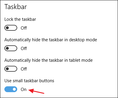 enabling the use small taskbar buttons option