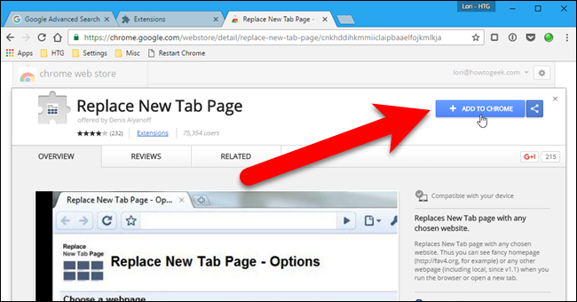 how to set open new tab in chrome